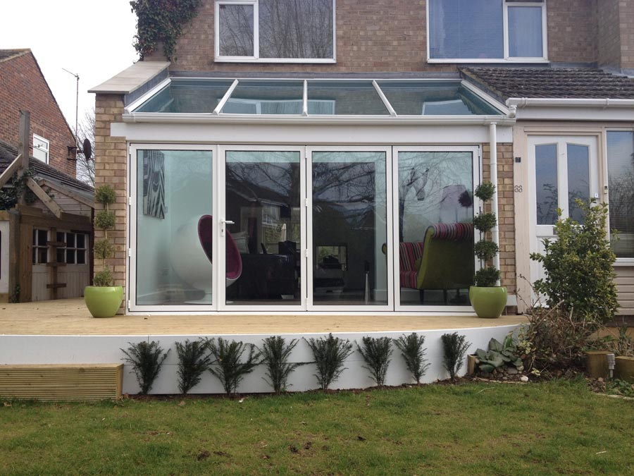 Glass extension with bi folding doors in thame crendon for Glass roof design